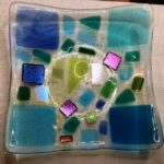 "#12805 BBGArt Glass dish/bowl (multi-colored), dicro, original design & engraved  Size: 7"" square slumped to 6-1/2"""