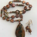 "#14889 Peruvian Fire Opal & Pearls, copper beads neckl/earrings (20"")"