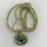 "#14890 Glass, beads, on SS chain (18"")"