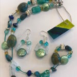 """#14876 Crystals, Lapis, & Pearls on SS clasp (21"""")"""