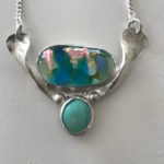 Sterling Silver necklace with glass and turquoise settings