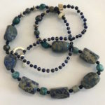 "#14881 Raw Chilean Lapis, silver woven wire with Lapis beads on SS clasp (28"")"